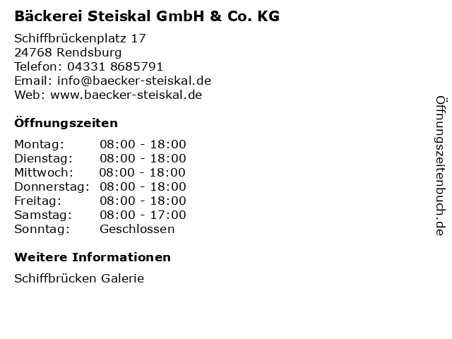 Bäckerei Steiskal GmbH & Co. KG in Rendsburg: Adresse und Öffnungszeiten