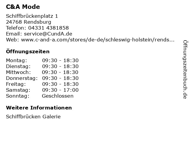 C&A Mode GmbH & Co. KG (Small Family) in Rendsburg: Adresse und Öffnungszeiten