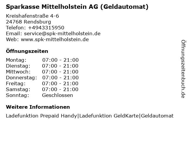 Sparkasse Mittelholstein AG - (Geldautomat Famila Kreishafen) in Rendsburg: Adresse und Öffnungszeiten