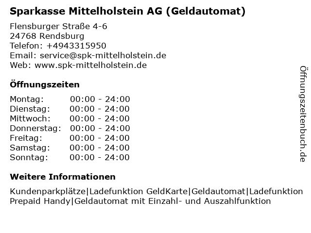 Sparkasse Mittelholstein AG - (Geldautomat Filiale) in Rendsburg: Adresse und Öffnungszeiten
