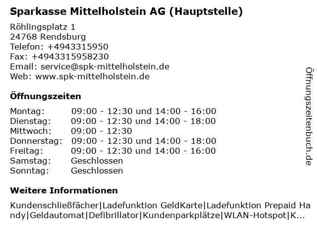 Sparkasse Mittelholstein AG - Hauptstelle Rendsburg in Rendsburg: Adresse und Öffnungszeiten