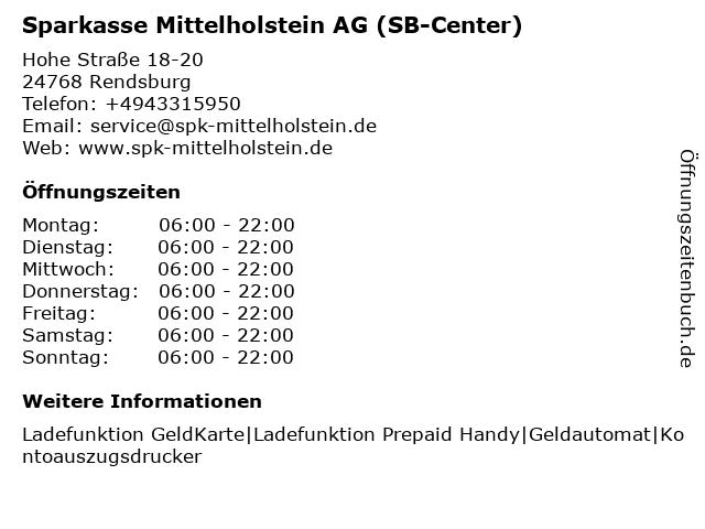 Sparkasse Mittelholstein AG (Geldautomat) in Rendsburg: Adresse und Öffnungszeiten