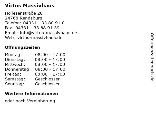 Virtus Massivhaus in Rendsburg: Adresse und Öffnungszeiten