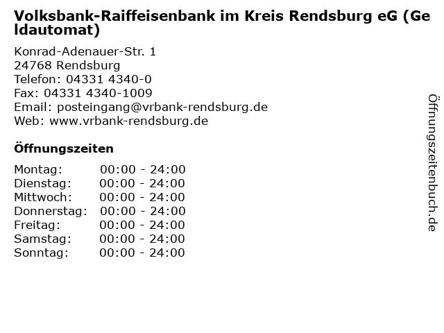 Volksbank-Raiffeisenbank im Kreis Rendsburg eG (Geldautomat) in Rendsburg: Adresse und Öffnungszeiten