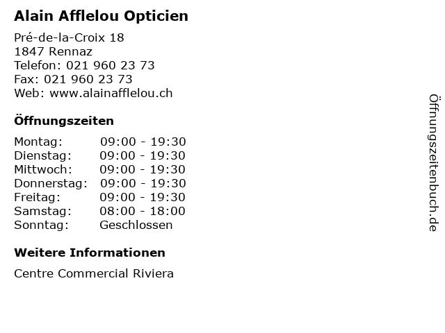 61a5d9073d40c8 Alain Afflelou Opticien in Rennaz  Adresse und Öffnungszeiten