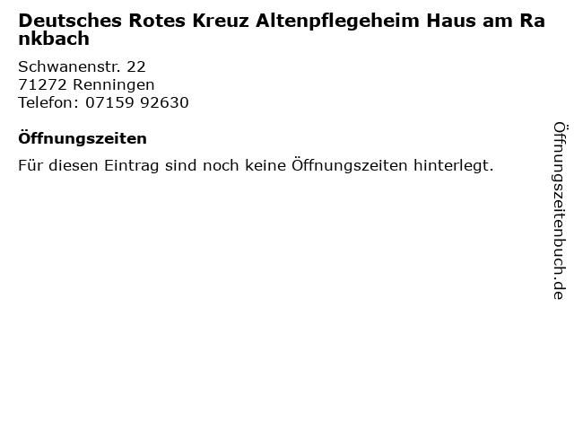 Deutsches Rotes Kreuz Altenpflegeheim Haus am Rankbach in Renningen: Adresse und Öffnungszeiten