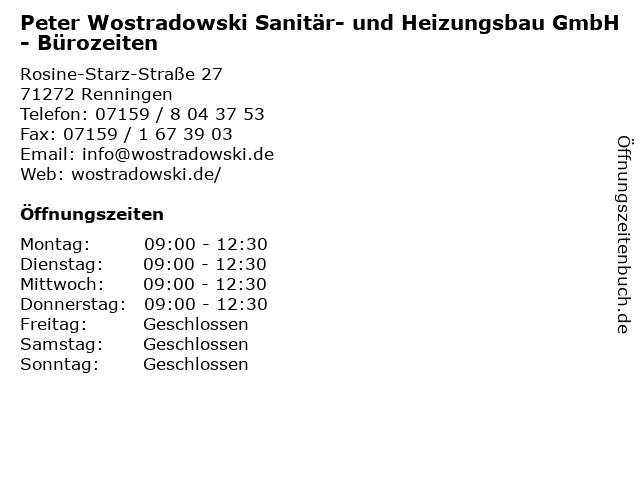 Peter Wostradowski Sanitär- und Heizungsbau GmbH - Bürozeiten in Renningen: Adresse und Öffnungszeiten
