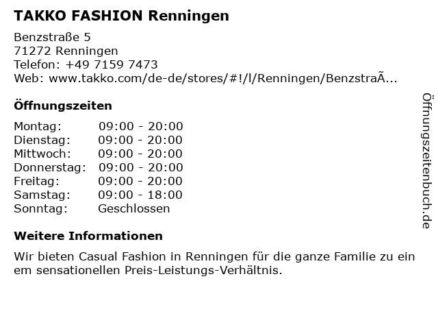 Takko Fashion in Renningen: Adresse und Öffnungszeiten