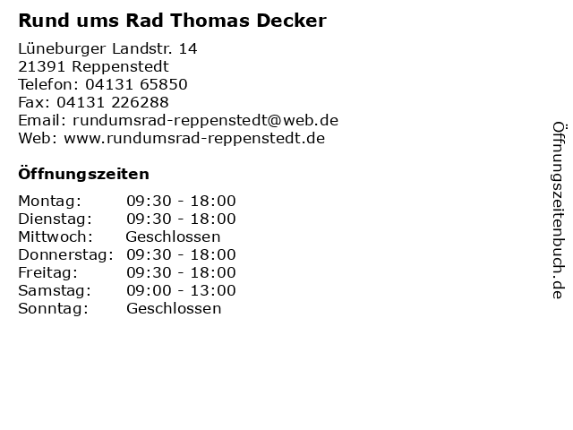 Rund ums Rad Thomas Decker in Reppenstedt: Adresse und Öffnungszeiten