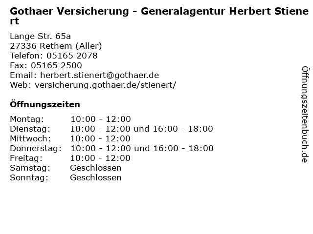 Gothaer Versicherung - Generalagentur Herbert Stienert in Rethem (Aller): Adresse und Öffnungszeiten