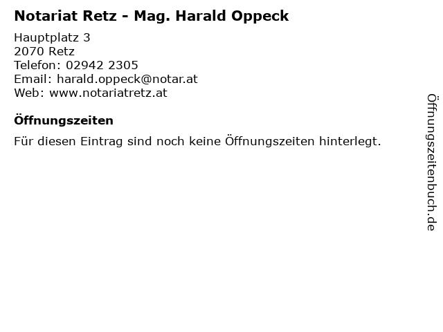 Notariat Retz - Mag. Harald Oppeck in Retz: Adresse und Öffnungszeiten