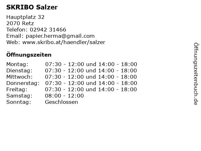 SKRIBO Salzer in Retz: Adresse und Öffnungszeiten