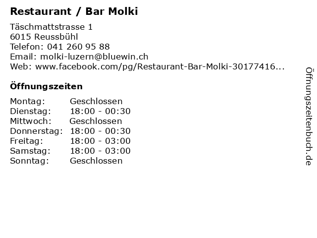 Restaurant / Bar Molki in Reussbühl: Adresse und Öffnungszeiten