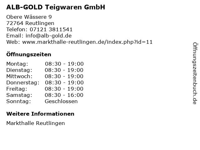 ALB-GOLD Teigwaren GmbH in Reutlingen: Adresse und Öffnungszeiten