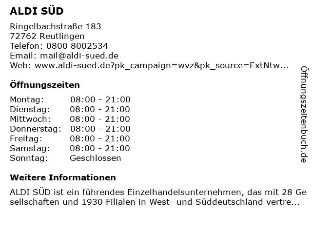 ALDI SÜD in Reutlingen: Adresse und Öffnungszeiten