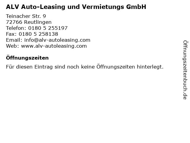 ALV Auto-Leasing und Vermietungs GmbH in Reutlingen: Adresse und Öffnungszeiten