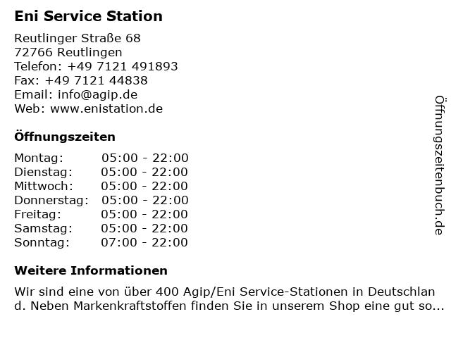 Agip Reutlingen-Sondelf. in Reutlingen: Adresse und Öffnungszeiten