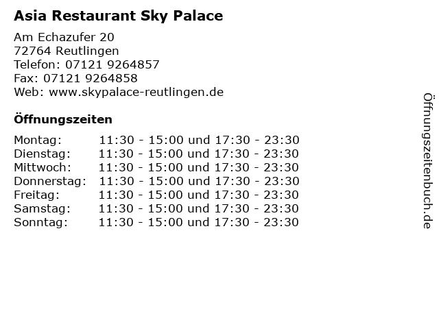 Asia Restaurant Sky Palace in Reutlingen: Adresse und Öffnungszeiten