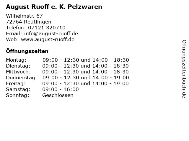 August Ruoff e. K. Pelzwaren in Reutlingen: Adresse und Öffnungszeiten