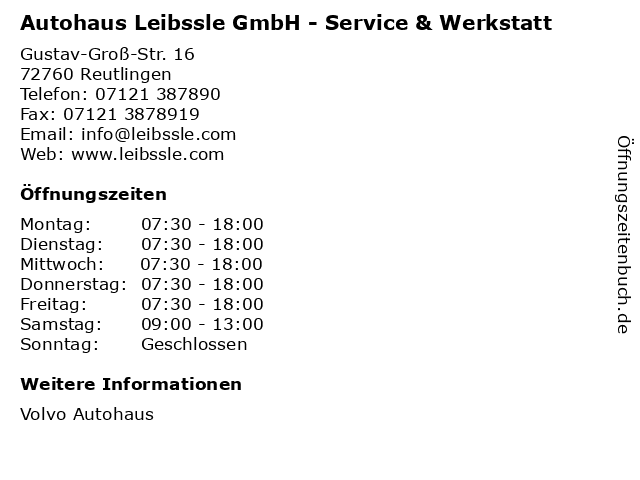 Autohaus Leibssle GmbH - Service & Werkstatt in Reutlingen: Adresse und Öffnungszeiten