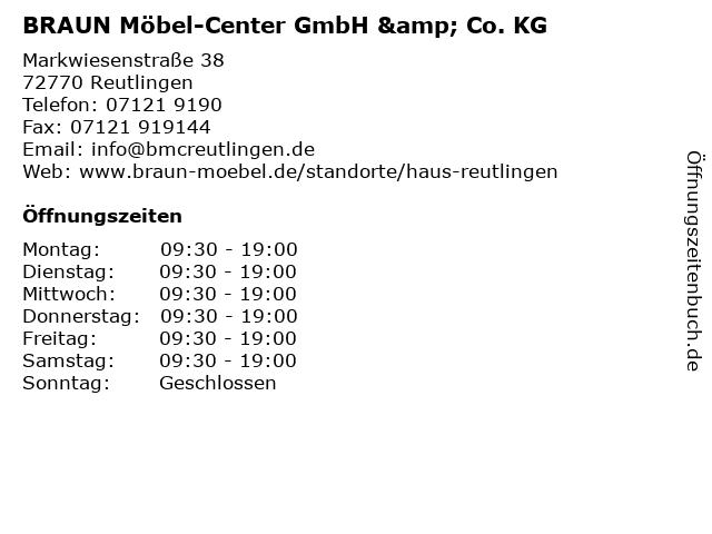 ᐅ Offnungszeiten Braun Mobel Center Gmbh Co Kg