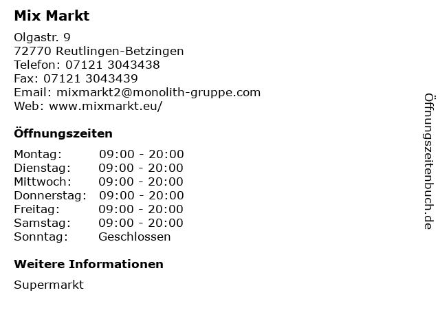 Mix Markt in Reutlingen-Betzingen: Adresse und Öffnungszeiten