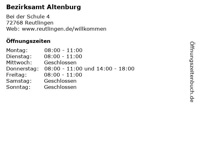 Bezirksamt Altenburg in Reutlingen: Adresse und Öffnungszeiten