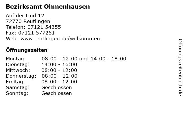 Bezirksamt Ohmenhausen in Reutlingen: Adresse und Öffnungszeiten