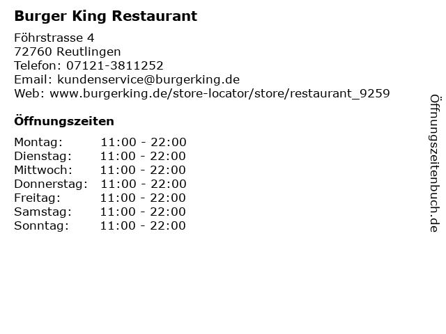 Burger King Restaurant in Reutlingen: Adresse und Öffnungszeiten