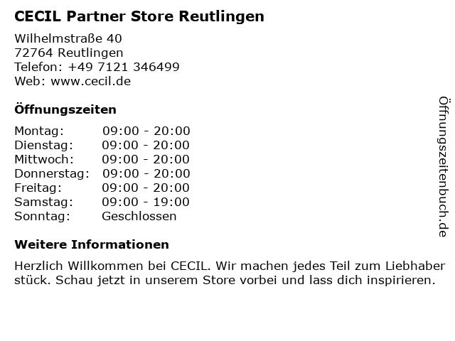 CECIL Partner Store Reutlingen in Reutlingen: Adresse und Öffnungszeiten