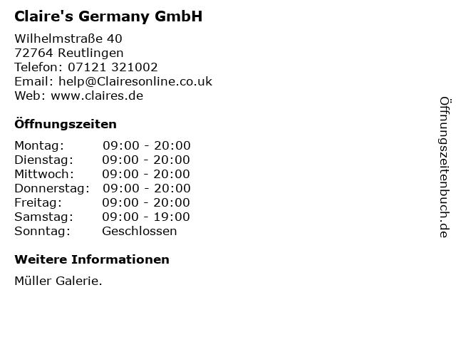 Claire's Germany GmbH in Reutlingen: Adresse und Öffnungszeiten