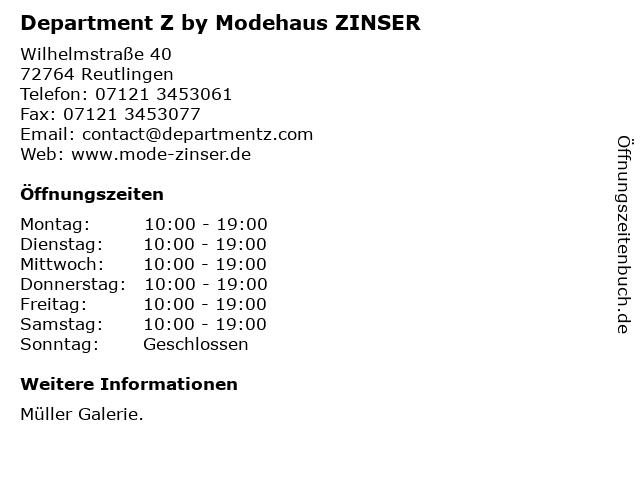 Department Z by Zinser in Reutlingen: Adresse und Öffnungszeiten
