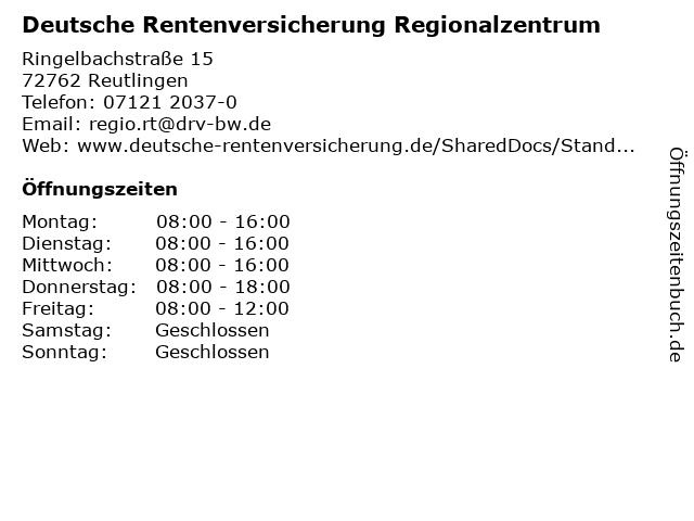 Deutsche Rentenversicherung Regionalzentrum in Reutlingen: Adresse und Öffnungszeiten