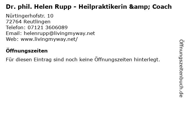 Dr. phil. Helen Rupp - Heilpraktikerin & Coach in Reutlingen: Adresse und Öffnungszeiten