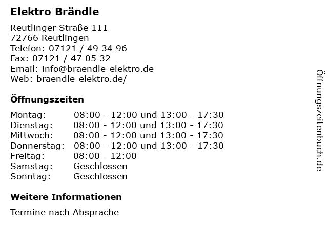 Elektro Brändle in Reutlingen: Adresse und Öffnungszeiten