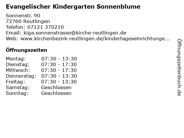 Evangelischer Kindergarten Sonnenblume in Reutlingen: Adresse und Öffnungszeiten