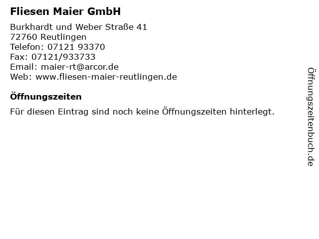 Fliesen Maier GmbH in Reutlingen: Adresse und Öffnungszeiten