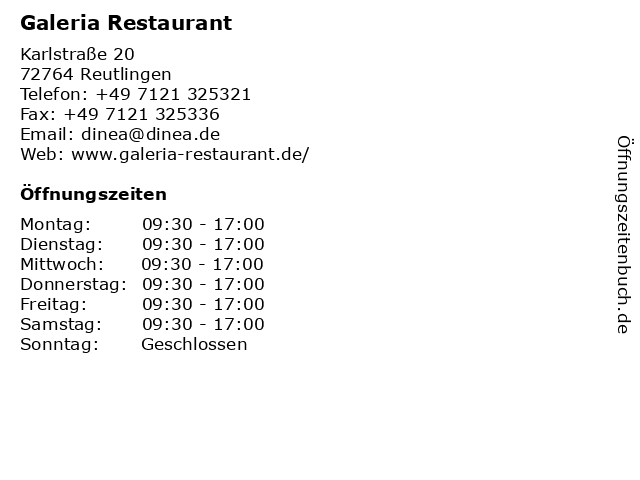 Galeria Restaurant in Reutlingen: Adresse und Öffnungszeiten
