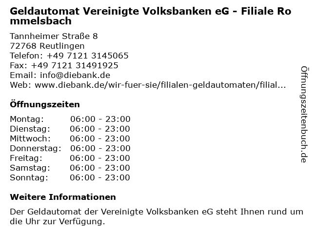 Geldautomat Vereinigte Volksbanken eG - Filiale Rommelsbach in Reutlingen: Adresse und Öffnungszeiten