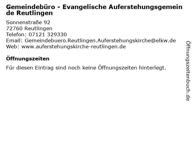 Gemeindebüro - Evangelische Auferstehungsgemeinde Reutlingen in Reutlingen: Adresse und Öffnungszeiten