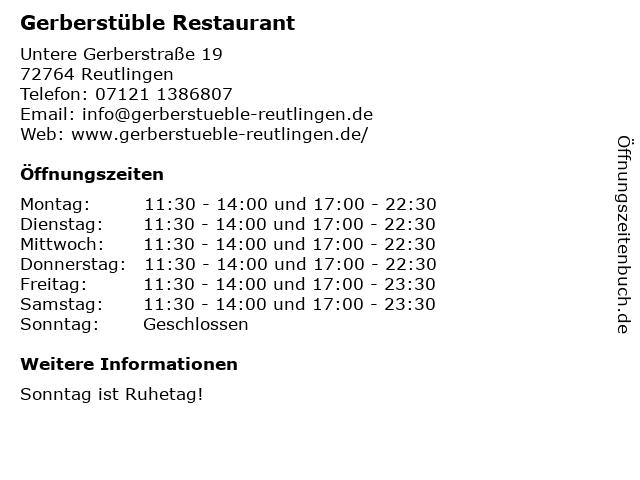 Gerberstüble Restaurant in Reutlingen: Adresse und Öffnungszeiten