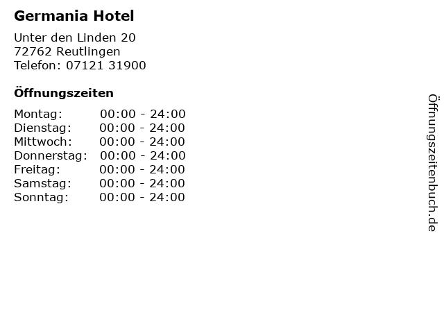 Germania Hotel in Reutlingen: Adresse und Öffnungszeiten