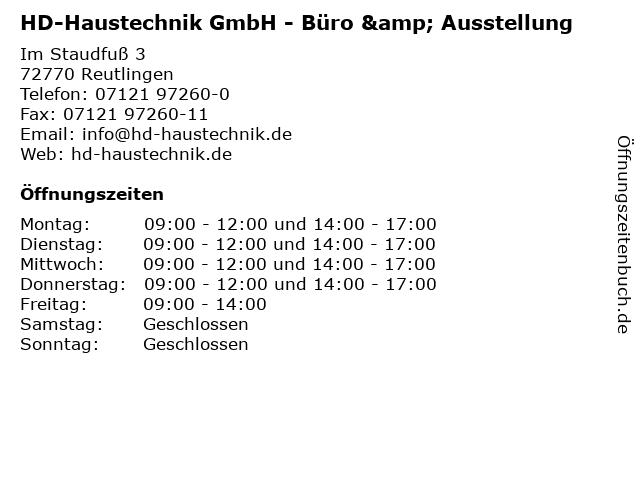 HD-Haustechnik GmbH - Büro & Ausstellung in Reutlingen: Adresse und Öffnungszeiten