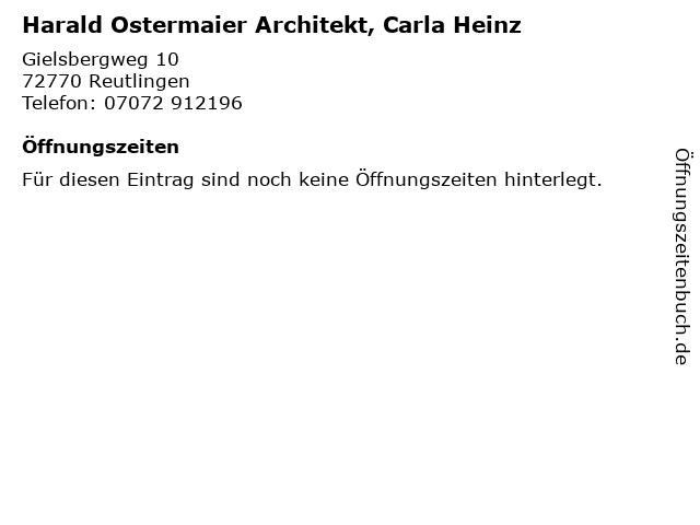 Harald Ostermaier Architekt, Carla Heinz in Reutlingen: Adresse und Öffnungszeiten