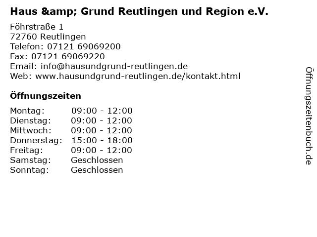Haus & Grund Reutlingen und Region e.V. in Reutlingen: Adresse und Öffnungszeiten