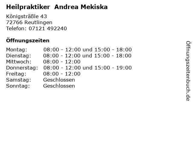 Heilpraktiker  Andrea Mekiska in Reutlingen: Adresse und Öffnungszeiten