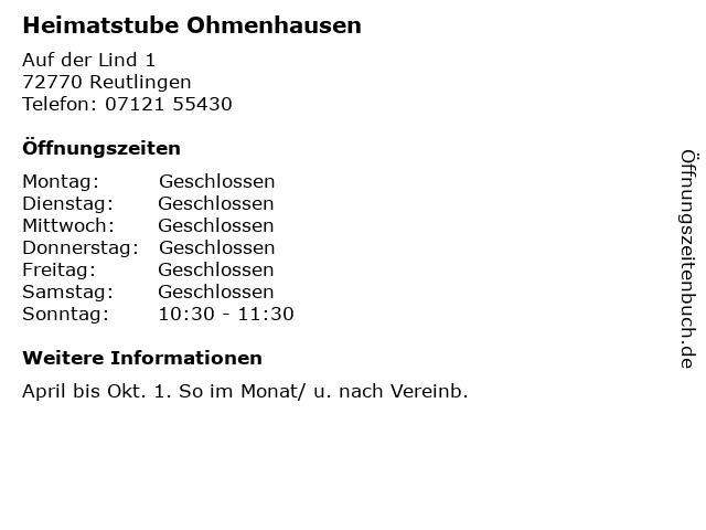 Heimatstube Ohmenhausen in Reutlingen: Adresse und Öffnungszeiten