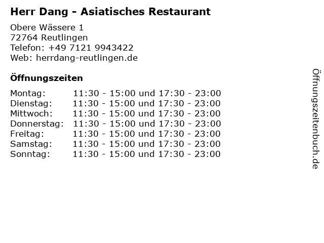 Herr Dang - Asiatisches Restaurant in Reutlingen: Adresse und Öffnungszeiten