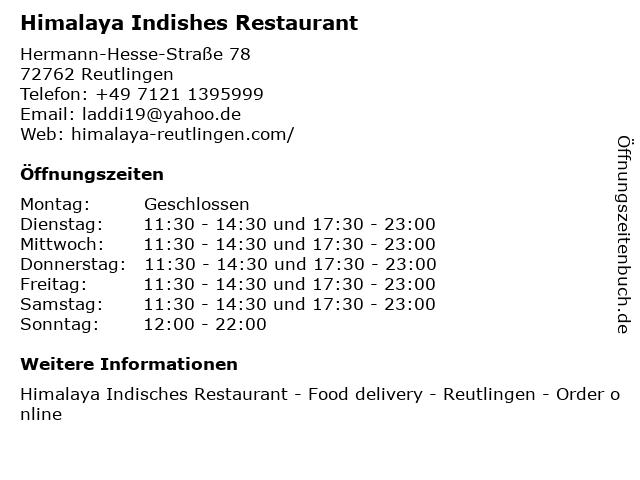 Indische Restaurant Himalaya in Reutlingen: Adresse und Öffnungszeiten