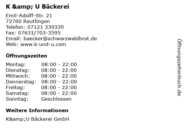 K & U Bäckerei in Reutlingen: Adresse und Öffnungszeiten